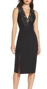NSR Kate  v neck lace sheath dress